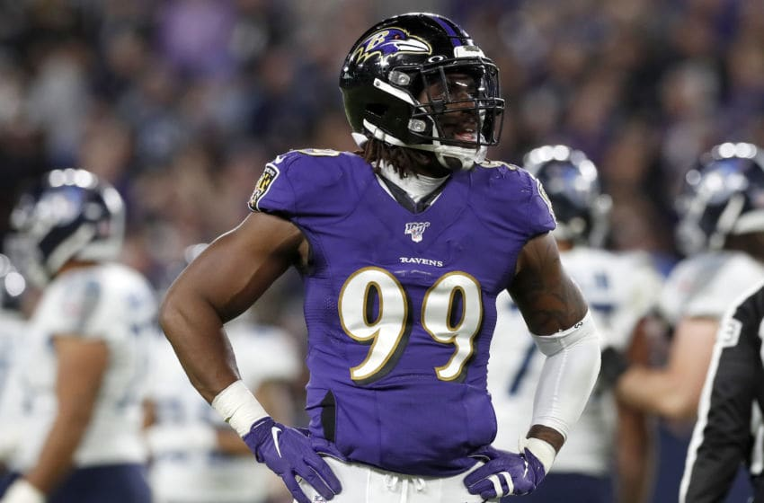 BALTIMORE, MARYLAND - JANUARY 11: Matt Judon #99 of the Baltimore Ravens reacts during the AFC Divisional Playoff game Tennessee Titans at M&T Bank Stadium on January 11, 2020 in Baltimore, Maryland. (Photo by Todd Olszewski/Getty Images)