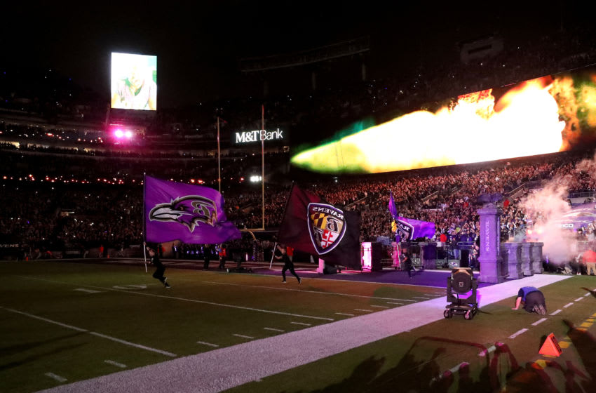 BALTIMORE, MARYLAND - JANUARY 11: The Baltimore Ravens take the field before the start of their AFC Divisional Playoff game against the Tennessee Titans at M&T Bank Stadium on January 11, 2020 in Baltimore, Maryland. (Photo by Rob Carr/Getty Images)
