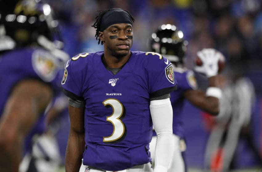 BALTIMORE, MD - JANUARY 11: Robert Griffin III #3 of the Baltimore Ravens stands on the field prior to the AFC Divisional Playoff game against the Tennessee Titans at M&T Bank Stadium on January 11, 2020 in Baltimore, Maryland. (Photo by Todd Olszewski/Getty Images)