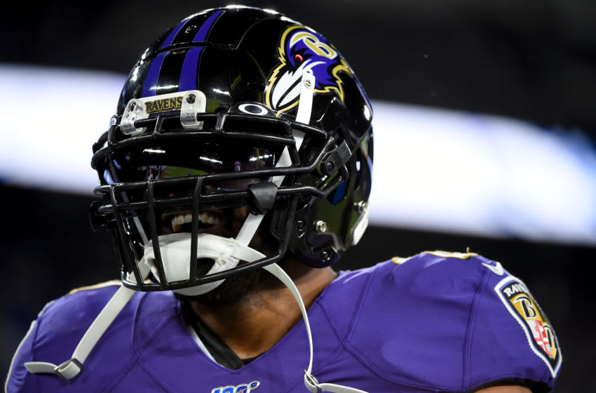 BALTIMORE, MARYLAND - JANUARY 11: Mark Ingram #21 of the Baltimore Ravens looks on prior to playing against the Tennessee Titans in the AFC Divisional Playoff game at M&T Bank Stadium on January 11, 2020 in Baltimore, Maryland. (Photo by Will Newton/Getty Images)