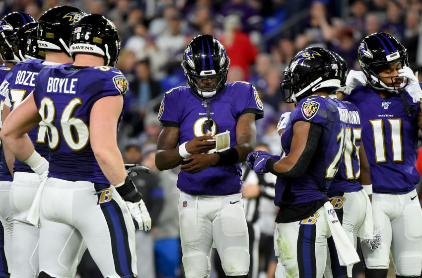 BALTIMORE, MARYLAND - JANUARY 11: Lamar Jackson #8 of the Baltimore Ravens calls a play against the Tennessee Titans during the AFC Divisional Playoff game at M&T Bank Stadium on January 11, 2020 in Baltimore, Maryland. (Photo by Will Newton/Getty Images)