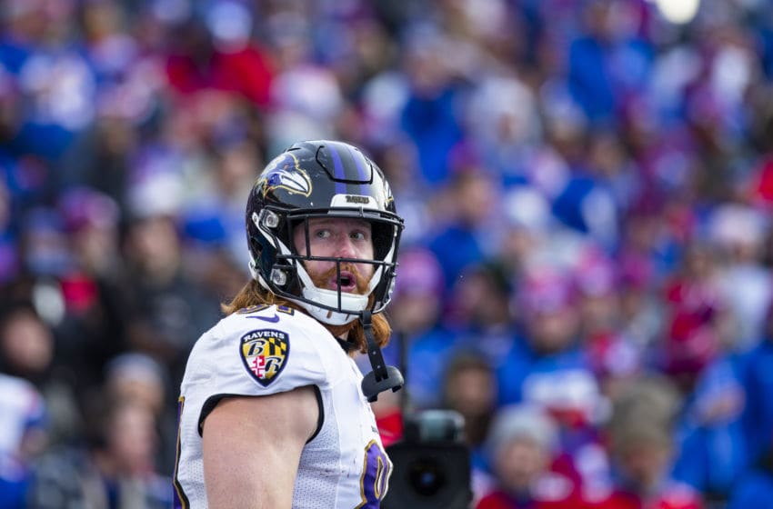 ORCHARD PARK, NY - DECEMBER 08: Hayden Hurst #81 of the Baltimore Ravens celebrates a touchdown against the Buffalo Bills during the third quarter at New Era Field on December 8, 2019 in Orchard Park, New York. Baltimore defeats Buffalo 24-17. (Photo by Brett Carlsen/Getty Images)