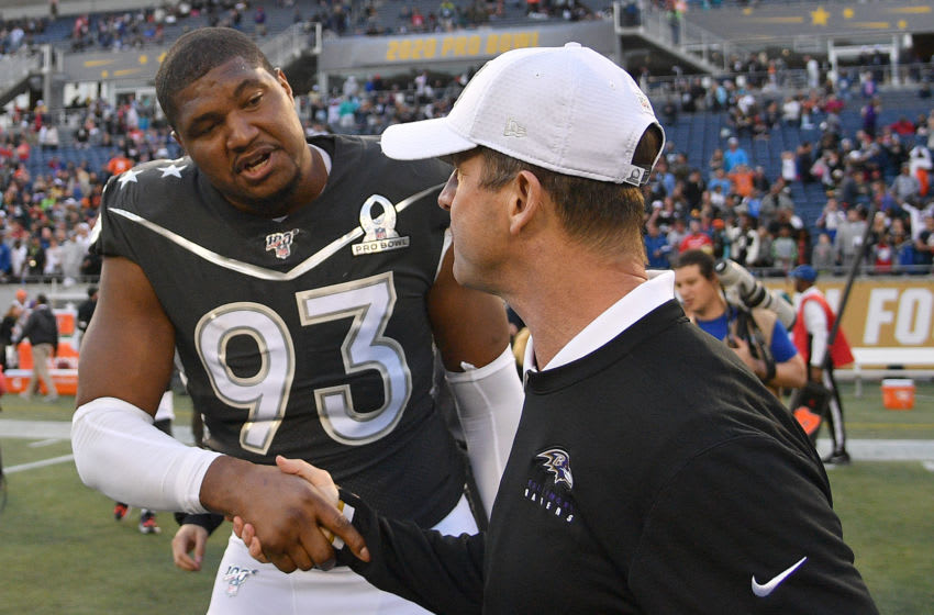 ORLANDO, FLORIDA - JANUARY 26: Calais Campbell #93 of the Jacksonville Jaguars shakes hands with Head Coach John Harbaugh of the AFC after the 2020 NFL Pro Bowl at Camping World Stadium on January 26, 2020 in Orlando, Florida. (Photo by Mark Brown/Getty Images)