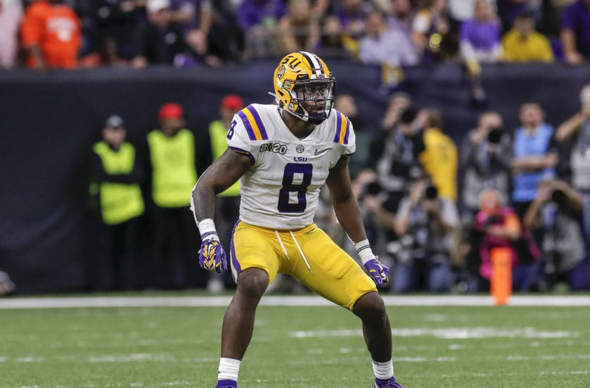 NEW ORLEANS, LA - JANUARY 13: Linebacker Patrick Queen #8 of the LSU Tigers during the College Football Playoff National Championship game against the Clemson Tigers at the Mercedes-Benz Superdome on January 13, 2020 in New Orleans, Louisiana. LSU defeated Clemson 42 to 25. (Photo by Don Juan Moore/Getty Images)