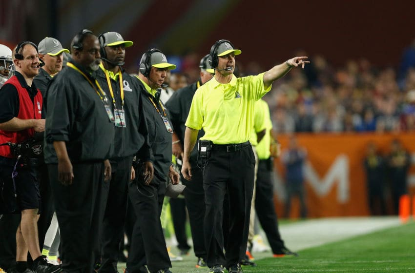 GLENDALE, AZ - JANUARY 25: Team Carter head coach John Harbaugh of the Baltimore Ravens gestures during the first half of the 2015 Pro Bowl at University of Phoenix Stadium on January 25, 2015 in Glendale, Arizona. (Photo by Christian Petersen/Getty Images)