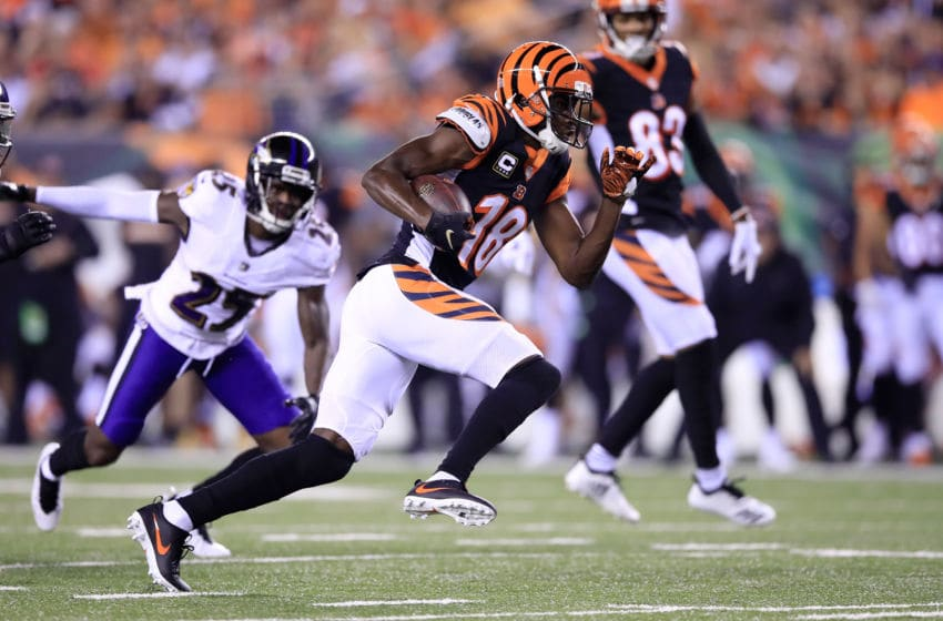 CINCINNATI, OH - SEPTEMBER 13: A.J. Green #18 of the Cincinnati Bengals runs for a touchdown in the game against the Baltimore Ravens at Paul Brown Stadium on September 13, 2018 in Cincinnati, Ohio. (Photo by Andy Lyons/Getty Images)