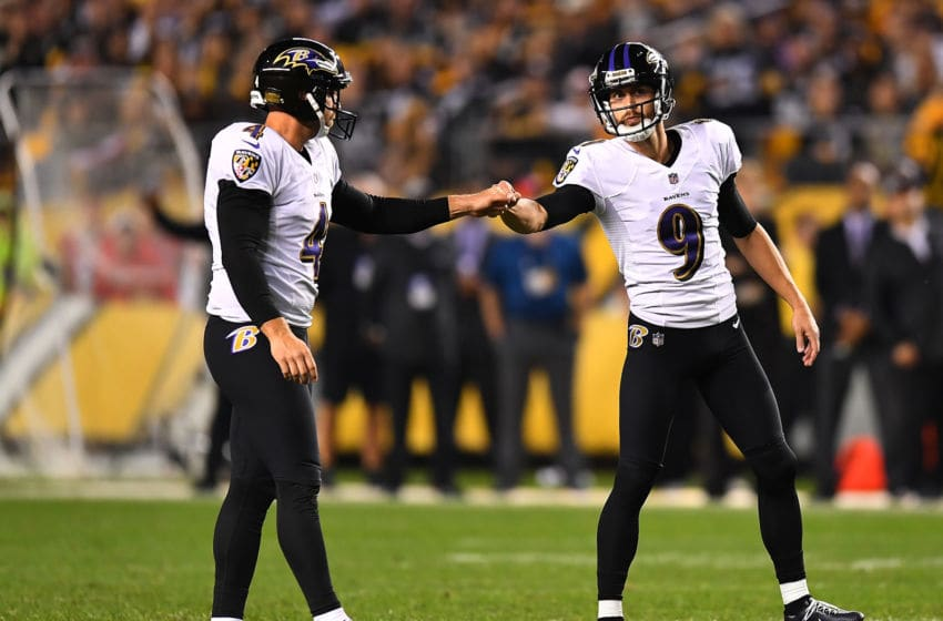 PITTSBURGH, PA - SEPTEMBER 30: Justin Tucker #9 of the Baltimore Ravens celebrates with Sam Koch #4 after a 47 yard field goal in the third quarter during the game against the Pittsburgh Steelers at Heinz Field on September 30, 2018 in Pittsburgh, Pennsylvania. (Photo by Joe Sargent/Getty Images)