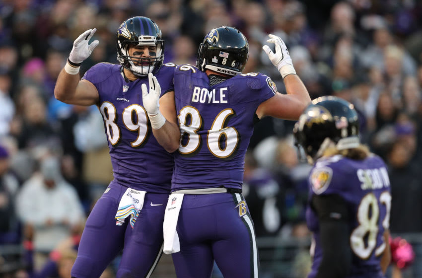 BALTIMORE, MD - OCTOBER 21: Tight End Mark Andrews #89 of the Baltimore Ravens celebrates with tight end Nick Boyle #86 after scoring a touchdown in the third quarter against the New Orleans Saints at M&T Bank Stadium on October 21, 2018 in Baltimore, Maryland. (Photo by Patrick Smith/Getty Images)