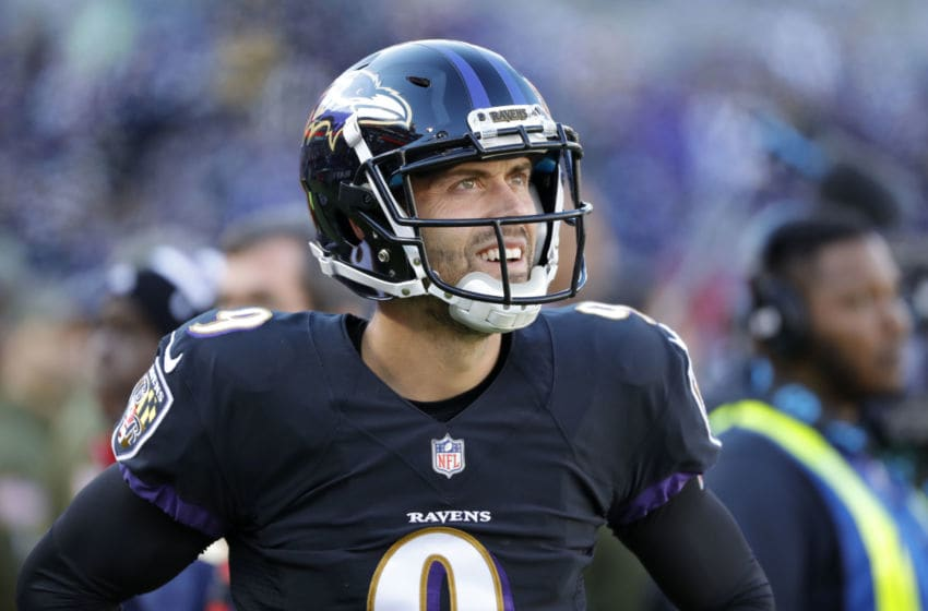 BALTIMORE, MD - NOVEMBER 04: Kicker Justin Tucker #9 of the Baltimore Ravens looks on from the sideline during the second quarter against the Pittsburgh Steelers at M&T Bank Stadium on November 4, 2018 in Baltimore, Maryland. (Photo by Scott Taetsch/Getty Images)
