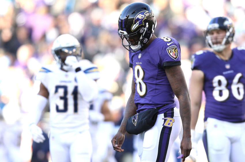 BALTIMORE, MARYLAND - JANUARY 06: Lamar Jackson #8 of the Baltimore Ravens reacts after a play against the Los Angeles Chargers during the third quarter in the AFC Wild Card Playoff game at M&T Bank Stadium on January 06, 2019 in Baltimore, Maryland. (Photo by Patrick Smith/Getty Images)