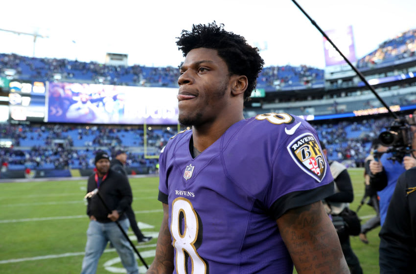 BALTIMORE, MARYLAND - JANUARY 06: Lamar Jackson #8 of the Baltimore Ravens walks off the field after being defeated but the Los Angeles Chargers in the AFC Wild Card Playoff game at M&T Bank Stadium on January 06, 2019 in Baltimore, Maryland. The Chargers defeated the Ravens with a score of 23 to 17. (Photo by Rob Carr/Getty Images)