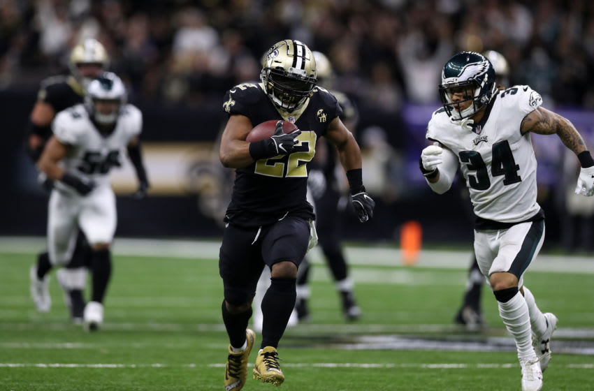 NEW ORLEANS, LOUISIANA - JANUARY 13: Mark Ingram #22 of the New Orleans Saints during the NFC Divisional Playoff at the Mercedes Benz Superdome on January 13, 2019 in New Orleans, Louisiana. (Photo by Chris Graythen/Getty Images)