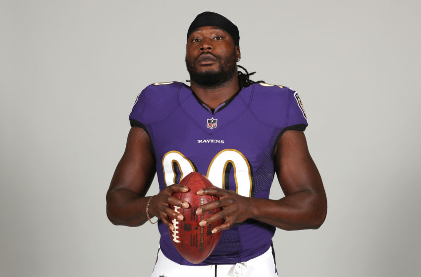OWINGS MILLS, MARYLAND - JUNE 10: Pernell McPhee #90 of the Baltimore Ravens poses for a photo at the Under Armour Performance Center on June 10, 2019 in Owings Mills, Maryland. (Photo by Rob Carr/Getty Images)