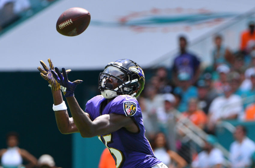 MIAMI, FLORIDA - SEPTEMBER 08: Marquise Brown #15 of the Baltimore Ravens catches a pass for a touchdown in the first quarter against the Miami Dolphins at Hard Rock Stadium on September 08, 2019 in Miami, Florida. (Photo by Mark Brown/Getty Images)