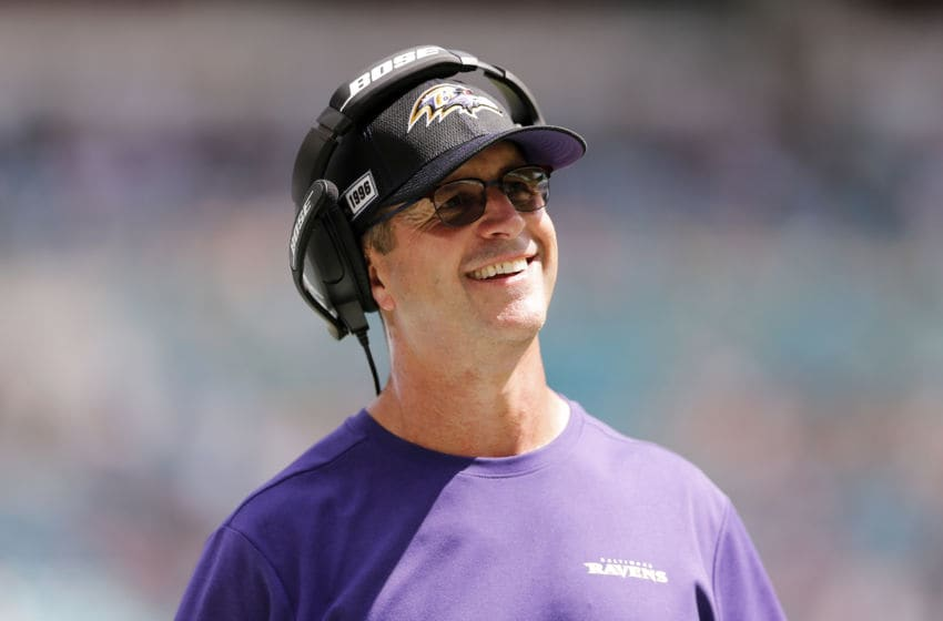 MIAMI, FLORIDA - SEPTEMBER 08: Head coach John Harbaugh of the Baltimore Ravens reacts against the Miami Dolphins during the fourth quarter at Hard Rock Stadium on September 08, 2019 in Miami, Florida. (Photo by Michael Reaves/Getty Images)