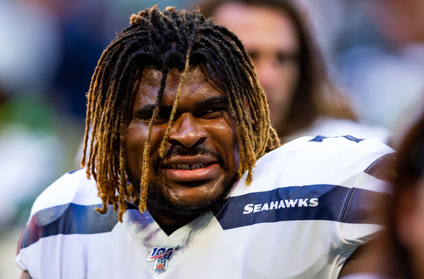 ATLANTA, GA - OCTOBER 27: D.J. Fluker #78 of the Seattle Seahawks looks on prior to the start of a game against the Atlanta Falcons at Mercedes-Benz Stadium on October 27, 2019 in Atlanta, Georgia. (Photo by Carmen Mandato/Getty Images)