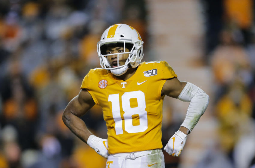 KNOXVILLE, TENNESSEE - NOVEMBER 30: Nigel Warrior #18 of the Tennessee Volunteers looks to the sideline during a break in the game against the Vanderbilt Commodores at Neyland Stadium on November 30, 2019 in Knoxville, Tennessee. (Photo by Silas Walker/Getty Images)