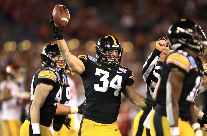 SAN DIEGO, CALIFORNIA - DECEMBER 27: Kristian Welch #34 of the Iowa Hawkeyes reacts after recovering a fumble during the second half of the San Diego County Credit Union Holiday Bowl against the USC Trojans at SDCCU Stadium on December 27, 2019 in San Diego, California. (Photo by Sean M. Haffey/Getty Images)
