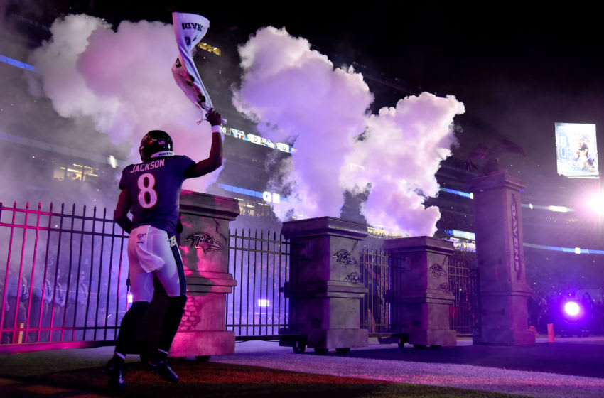 BALTIMORE, MARYLAND - JANUARY 11: Lamar Jackson #8 of the Baltimore Ravens is introduced prior to the AFC Divisional Playoff game against the Tennessee Titans at M&T Bank Stadium on January 11, 2020 in Baltimore, Maryland. (Photo by Will Newton/Getty Images)