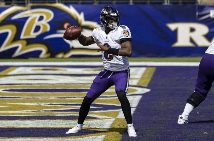 BALTIMORE, MD - SEPTEMBER 13: Lamar Jackson #8 of the Baltimore Ravens looks to pass against the Cleveland Browns during the first half at M&T Bank Stadium on September 13, 2020 in Baltimore, Maryland. (Photo by Scott Taetsch/Getty Images)
