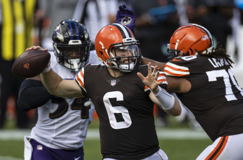BALTIMORE, MD - SEPTEMBER 13: Baker Mayfield #6 of the Cleveland Browns attempts a pass as Tyus Bowser #54 of the Baltimore Ravens applies pressure during the second half at M&T Bank Stadium on September 13, 2020 in Baltimore, Maryland. (Photo by Scott Taetsch/Getty Images)