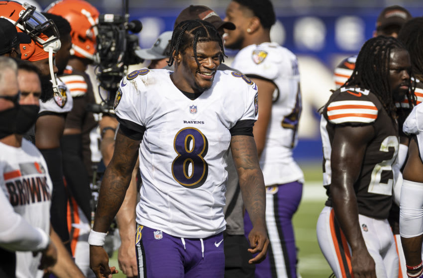 BALTIMORE, MD - SEPTEMBER 13: Lamar Jackson #8 of the Baltimore Ravens looks on after the game against the Cleveland Browns at M&T Bank Stadium on September 13, 2020 in Baltimore, Maryland. (Photo by Scott Taetsch/Getty Images)