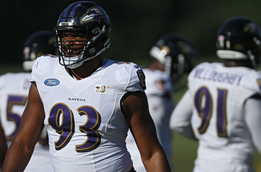 OWINGS MILLS, MARYLAND - AUGUST 18: Defensive end Calais Campbell #93 of the Baltimore Ravens trains during the Baltimore Ravens Training Camp at Under Armour Performance Center Baltimore Ravens on on August 18, 2020 in Owings Mills, Maryland. (Photo by Patrick Smith/Getty Images)