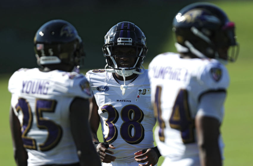 OWINGS MILLS, MARYLAND - AUGUST 18: Cornerback Terrell Bonds #38 of the Baltimore Ravens trains during the Baltimore Ravens Training Camp at Under Armour Performance Center Baltimore Ravens on on August 18, 2020 in Owings Mills, Maryland. (Photo by Patrick Smith/Getty Images)