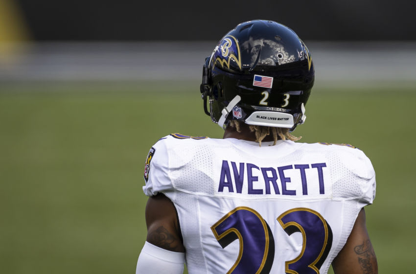 BALTIMORE, MD - SEPTEMBER 13: Anthony Averett #23 of the Baltimore Ravens looks on while wearing a helmet with the words Black Lives Matter during the second half of the game against the Cleveland Browns at M&T Bank Stadium on September 13, 2020 in Baltimore, Maryland. (Photo by Scott Taetsch/Getty Images)