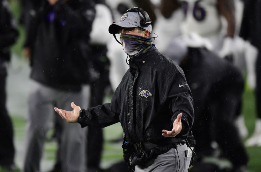 FOXBOROUGH, MASSACHUSETTS - NOVEMBER 15: Head coach John Harbaugh of the Baltimore Ravens reacts against the New England Patriots during the second half at Gillette Stadium on November 15, 2020 in Foxborough, Massachusetts. (Photo by Billie Weiss/Getty Images)