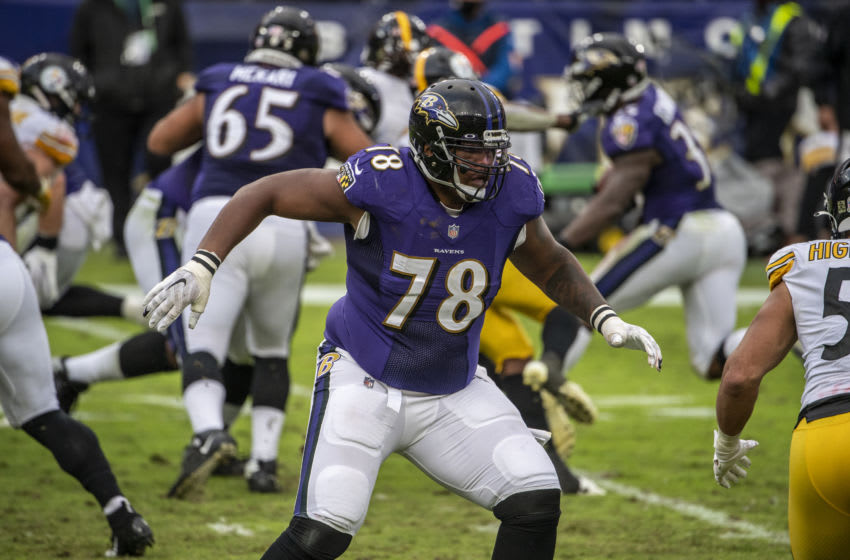 BALTIMORE, MD - NOVEMBER 01: Orlando Brown #78 of the Baltimore Ravens during a game against the Pittsburgh Steelers at M&T Bank Stadium on November 1, 2020 in Baltimore, Maryland. (Photo by Benjamin Solomon/Getty Images)