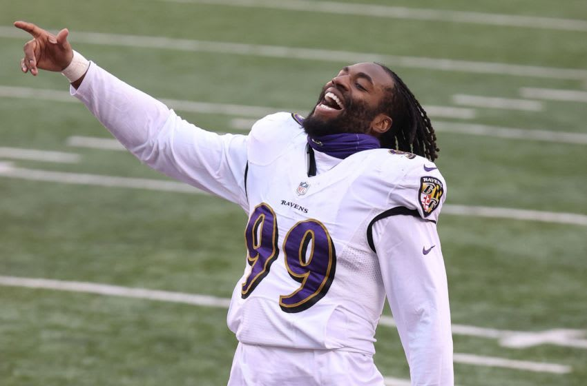 CINCINNATI, OHIO - JANUARY 03: Matthew Judon #99 of the Baltimore Ravens celebrates after the win against the Cincinnati Bengals at Paul Brown Stadium on January 03, 2021 in Cincinnati, Ohio. (Photo by Andy Lyons/Getty Images)