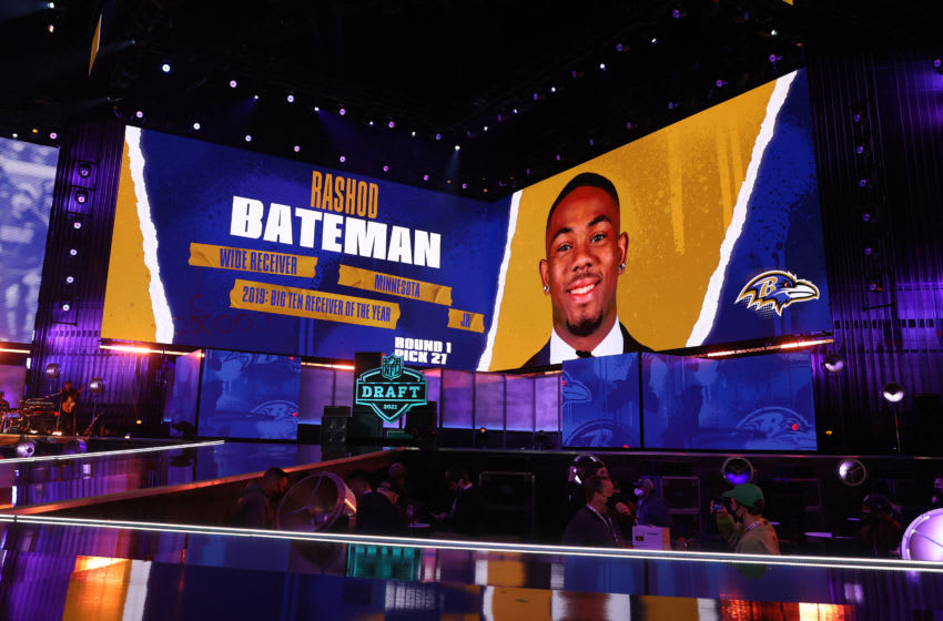 CLEVELAND, OHIO - APRIL 29: NFL Commissioner Roger Goodell announces Rashod Bateman as the 27th selection by the Baltimore Ravens during round one of the 2021 NFL Draft at the Great Lakes Science Center on April 29, 2021 in Cleveland, Ohio. (Photo by Gregory Shamus/Getty Images)