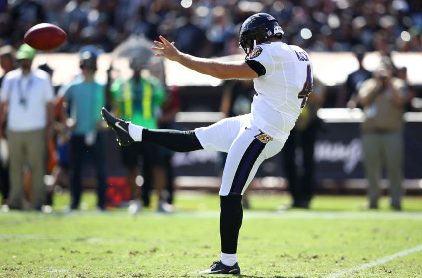 OAKLAND, CA - OCTOBER 08: Sam Koch #4 of the Baltimore Ravens punts the ball against the Oakland Raiders during their NFL game at Oakland-Alameda County Coliseum on October 8, 2017 in Oakland, California. (Photo by Ezra Shaw/Getty Images)