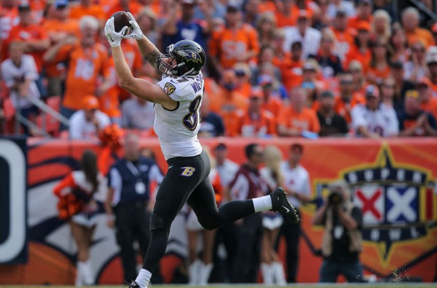 DENVER, CO - SEPTEMBER 13: Tight end Maxx Williams #87 of the Baltimore Ravens makes a catch in the fourth quarter of a game against the Denver Broncos at Sports Authority Field at Mile High on September 13, 2015 in Denver, Colorado. (Photo by Doug Pensinger/Getty Images)