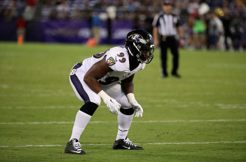 BALTIMORE, MD - AUGUST 10: Linebacker Matt Judon #99 of the Baltimore Ravens lines up against the Washington Redskins during a preseason game at M&T Bank Stadium on August 10, 2017 in Baltimore, Maryland. (Photo by Rob Carr/Getty Images)