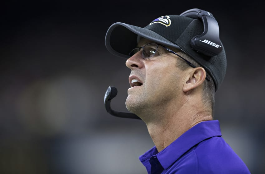 NEW ORLEANS, LA - AUGUST 31: Head Coach John Harbaugh of the Baltimore Ravens on the sideline during a preseason game against the New Orleans Saints at Mercedes-Benz Superdome on August 31, 2017 in New Orleans, Louisiana. The Ravens defeated the Saints 14-13. (Photo by Wesley Hitt/Getty Images)