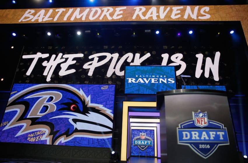 CHICAGO, IL - APRIL 28: A detailed view of the pick is in for the #6 overall pick by the Baltimore Ravens during the first round of the 2016 NFL Draft at the Auditorium Theatre of Roosevelt University on April 28, 2016 in Chicago, Illinois. (Photo by Jon Durr/Getty Images)