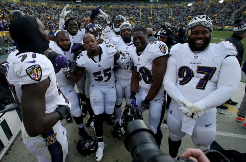 GREEN BAY, WI - NOVEMBER 19: Members of the Baltimore Ravens celebrate near the end of the game against the Green Bay Packers at Lambeau Field on November 19, 2017 in Green Bay, Wisconsin. (Photo by Dylan Buell/Getty Images)