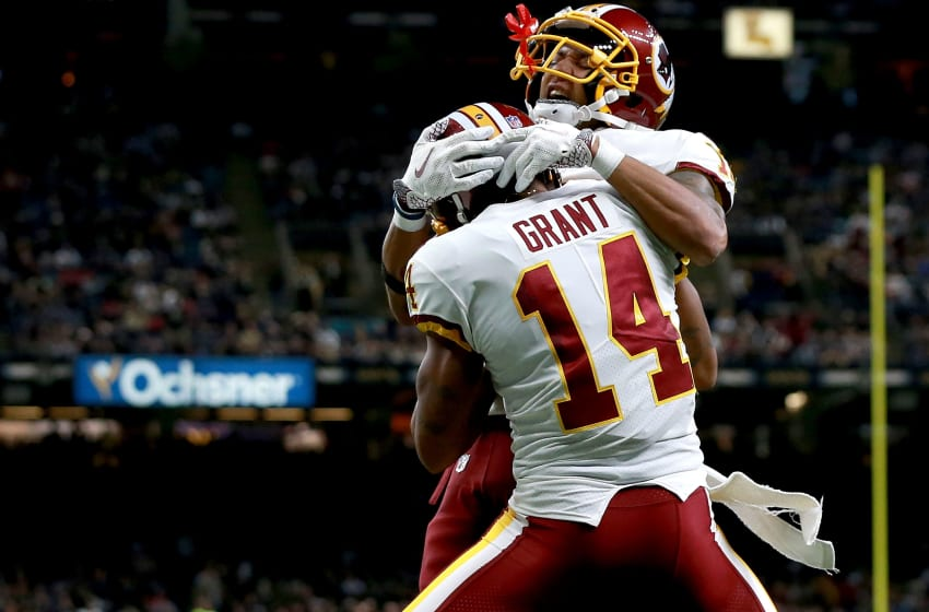 NEW ORLEANS, LA - NOVEMBER 19: Josh Doctson #18 of the Washington Redskins and Ryan Grant #14 of the Washington Redskins celebrate after scoring a touchdown against the New Orleans Saints during the second half at the Mercedes-Benz Superdome on November 19, 2017 in New Orleans, Louisiana. (Photo by Sean Gardner/Getty Images)