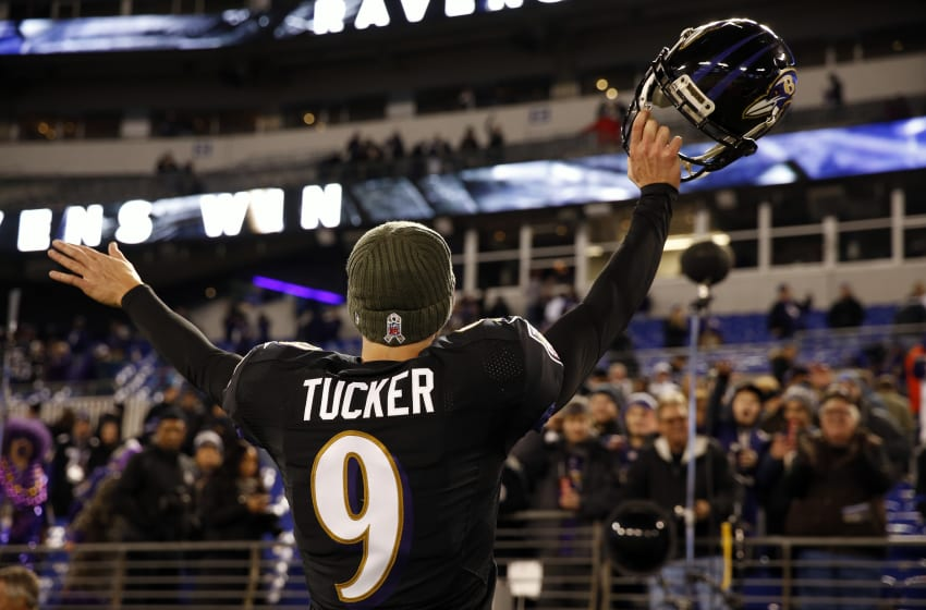 BALTIMORE, MD - NOVEMBER 27: Kicker Justin Tucker #9 of the Baltimore Ravens waves to fans after the Ravens win 23-16 over the Houston Texans at M&T Bank Stadium on November 27, 2017 in Baltimore, Maryland. (Photo by Scott Taetsch/Getty Images)