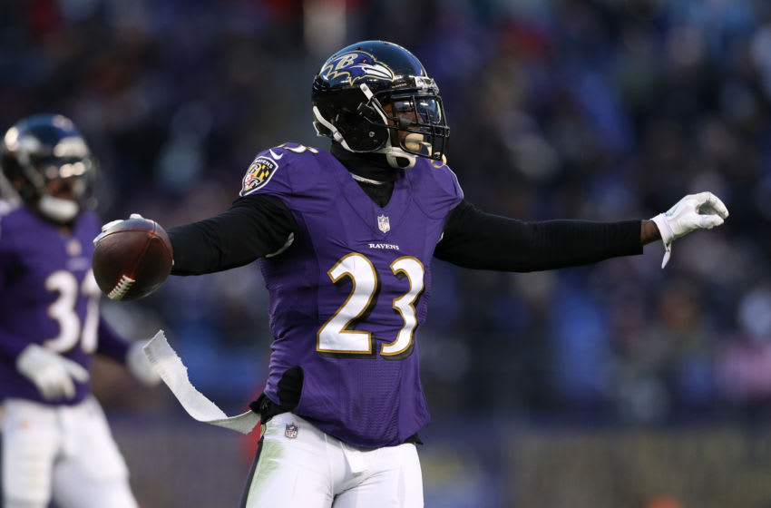 BALTIMORE, MD - DECEMBER 31: Strong Safety Tony Jefferson #23 of the Baltimore Ravens reacts after a play in the first quarter against the Cincinnati Bengals at M&T Bank Stadium on December 31, 2017 in Baltimore, Maryland. (Photo by Patrick Smith/Getty Images)