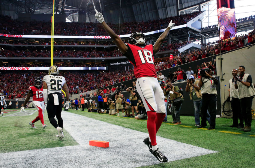 ATLANTA, GA - SEPTEMBER 23: Calvin Ridley #18 of the Atlanta Falcons celebrates a touchdown catch during the first half against the New Orleans Saints at Mercedes-Benz Stadium on September 23, 2018 in Atlanta, Georgia. (Photo by Daniel Shirey/Getty Images)