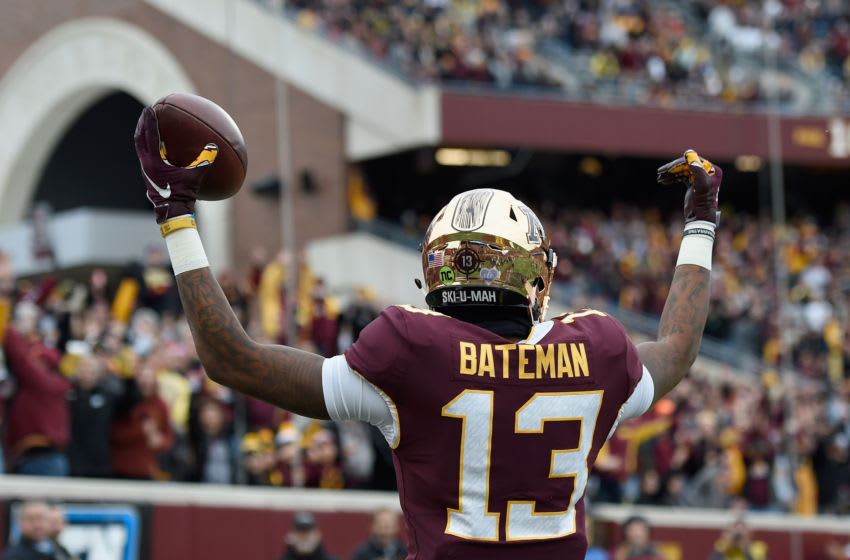 MINNEAPOLIS, MN - OCTOBER 06: Rashod Bateman #13 of the Minnesota Golden Gophers celebrates a touchdown against the Iowa Hawkeyes during the first quarter of the game on October 6, 2018 at TCF Bank Stadium in Minneapolis, Minnesota. (Photo by Hannah Foslien/Getty Images)