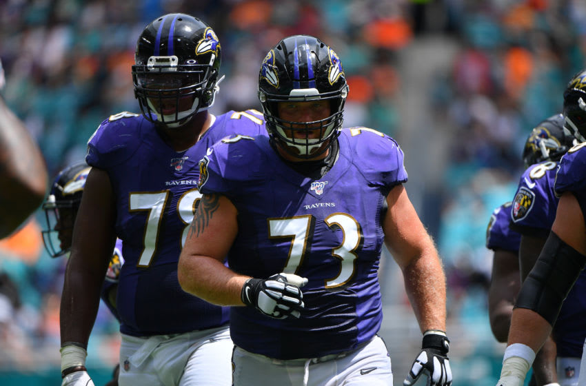 MIAMI, FLORIDA - SEPTEMBER 08: Marshal Yanda #73 of the Baltimore Ravens lines up against the Miami Dolphins at Hard Rock Stadium on September 08, 2019 in Miami, Florida. (Photo by Mark Brown/Getty Images)
