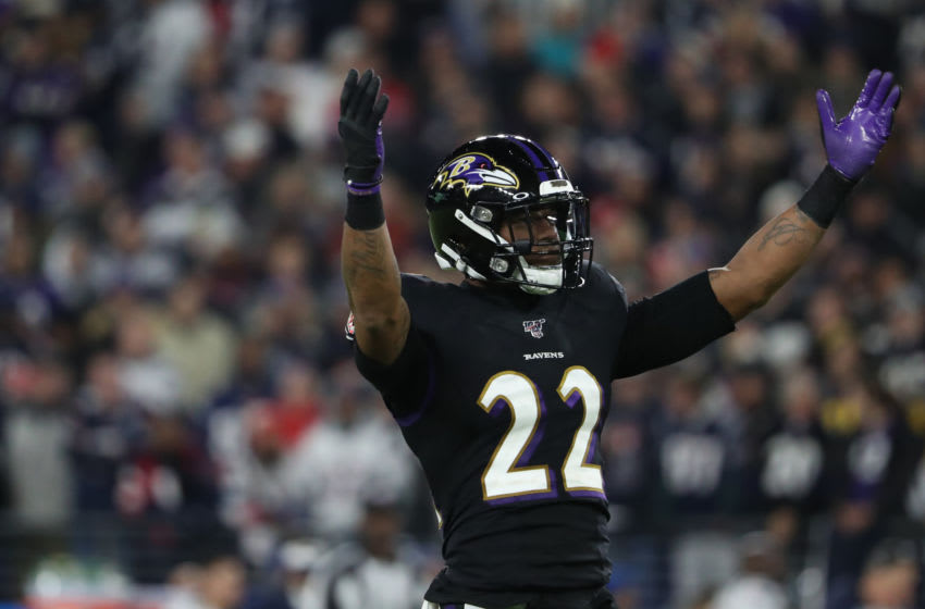 BALTIMORE, MARYLAND - NOVEMBER 03: Cornerback Jimmy Smith #22 of the Baltimore Ravens reacts against the New England Patriots during the second quarter at M&T Bank Stadium on November 3, 2019 in Baltimore, Maryland. (Photo by Todd Olszewski/Getty Images)