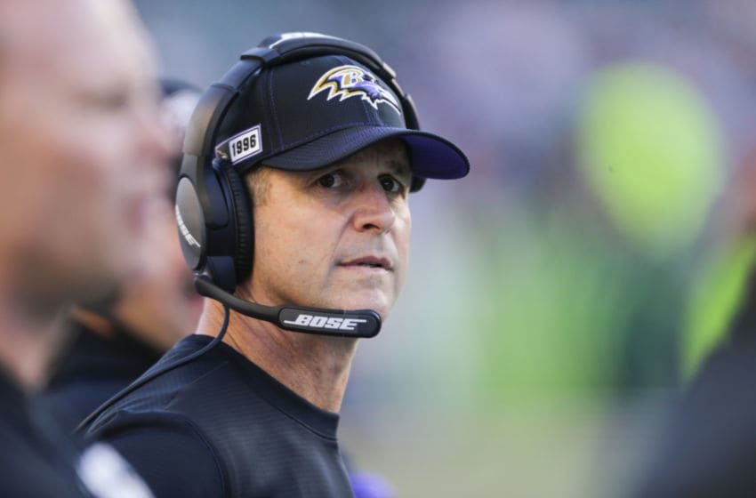 CINCINNATI, OHIO - NOVEMBER 10: Head coach John Harbaugh of the Baltimore Ravens on the sideline during the fourth quarter of the game against the Cincinnati Bengals at Paul Brown Stadium on November 10, 2019 in Cincinnati, Ohio. (Photo by Silas Walker/Getty Images)