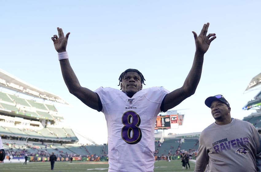 CINCINNATI, OHIO - NOVEMBER 10: Lamar Jackson #8 of the Baltimore Ravens waves at the crowd after the NFL football game against the Cincinnati Bengals at Paul Brown Stadium on November 10, 2019 in Cincinnati, Ohio. (Photo by Bryan Woolston/Getty Images)