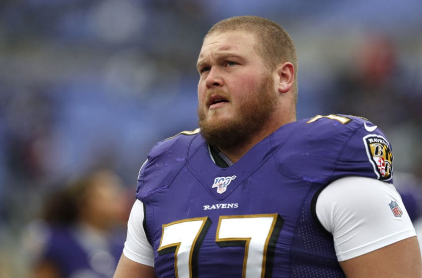 BALTIMORE, MARYLAND - NOVEMBER 17: Bradley Bozeman #77 of the Baltimore Ravens looks on prior to the game against the Houston Texans at M&T Bank Stadium on November 17, 2019 in Baltimore, Maryland. (Photo by Todd Olszewski/Getty Images)