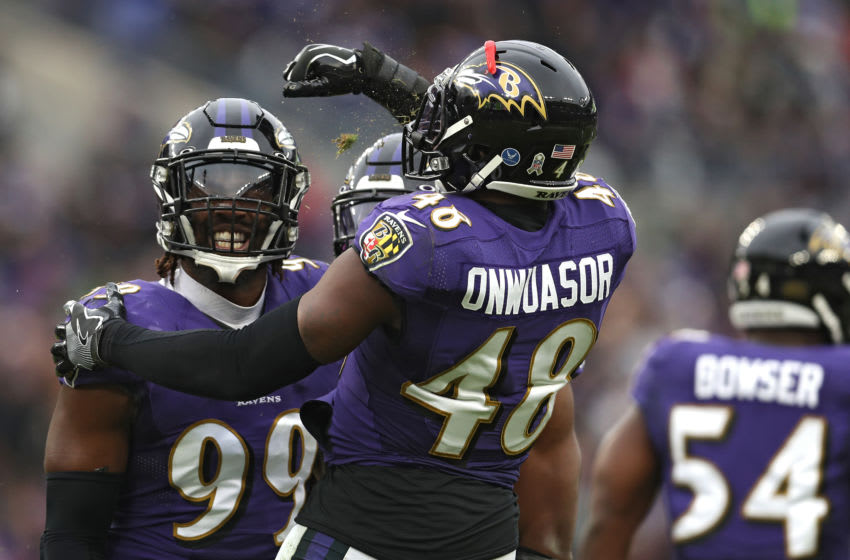 BALTIMORE, MARYLAND - NOVEMBER 17: Outside linebacker Matt Judon #99 of the Baltimore Ravens celebrates his sack with teammate inside linebacker Patrick Onwuasor #48 of the Baltimore Ravens against the Houston Texans during the third quarter at M&T Bank Stadium on November 17, 2019 in Baltimore, Maryland. (Photo by Patrick Smith/Getty Images)